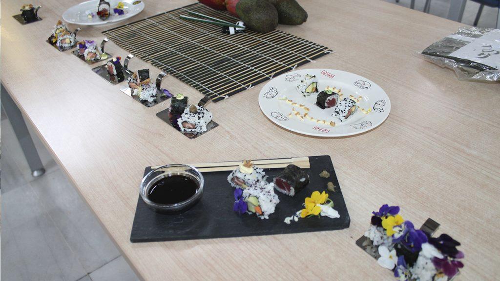 Platos ganadores del taller de sushi